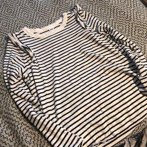 Women's stripe shirt with ruffle detail